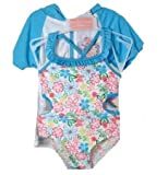 Duck Duck Goose Blue Floral Cutout Swimsuit with Robe - Infant Girls (3T)