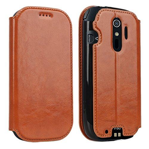 Cresee F-04J ケース docomo らくらくスマートフォン4 本革 手帳型 保護カバー ブラウン