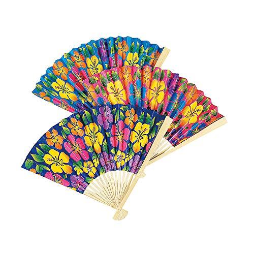 Hibiscus Folding Fans - 12 count