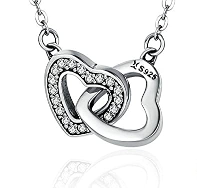 Bamoer Valentine Day Gift 925 Sterling Silver Connected Heart Couple