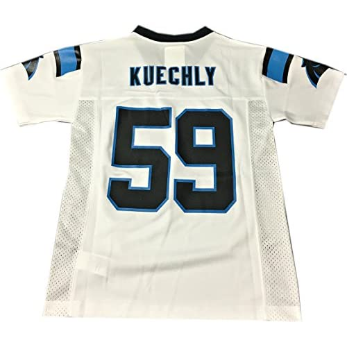 newest 8a281 070a0 Luke Kuechly Carolina Panthers #59 White NFL Youth Away Mid ...