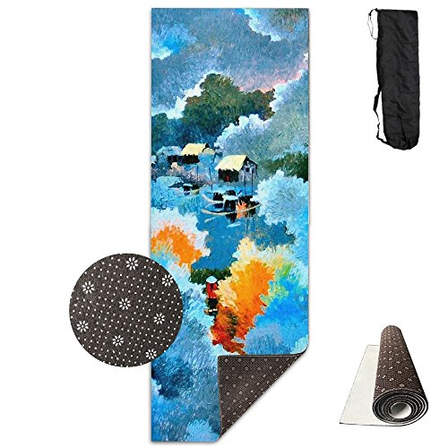 Non Slip Yoga Mat Village Life Paint Premium Printed 24 X 71 Inches Great For Exercise Pilates Gymnastics Carrying Strap]()