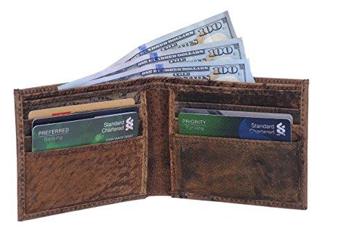 Wallet Leather Buffalo - KomalC Mens Slim Leather Wallet BifoldPRIME SALE