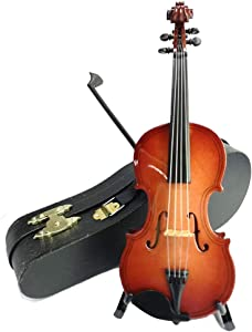LS Realistic Mini Wood Violin Musical Instrument, Miniature Dollhouse Replica Ornament Holiday Accessories Gifts with Case (16cm)