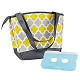 Image of Fit & Fresh Hyannis Insulated Lunch Bag for Women, Soft Cooler Bag with Ice Pack for Work and On-The-Go, Yellow Gray Tile