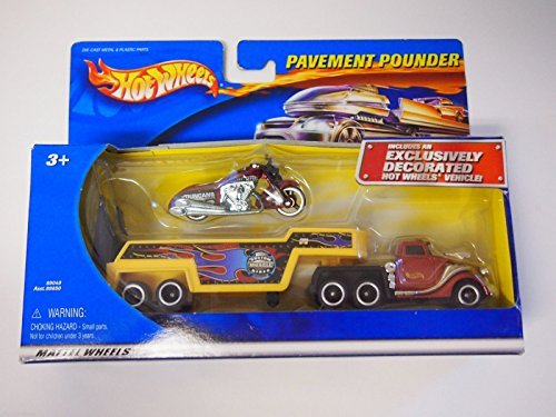 Pavement Pounder (Hot Wheels Pavement Pounder Duncans Motorcycles Bike, Custom Muscle Bikes Trailer, and Hot Wheels Truck)