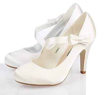 e4d24402e32 LADIES WEDDING SHOES WOMENS HIGH HEELS FANCY SATIN BRIDAL WHITE IVORY COURT  SHOES SIZE 3 -