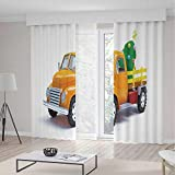 TecBillion Decor Collection,Christmas,for Bedroom Living Dining Room Kids Youth Room,Yellow Vintage Truck and Decorated Tree with Star Topper Old Farm Motor,157Wx83L Inches