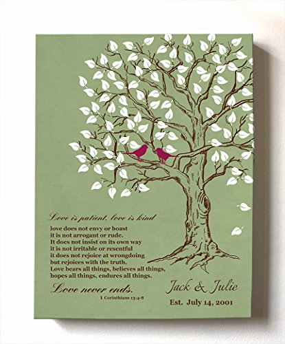 MuralMax - Personalized Anniversary Family Tree Artwork - Love is Patient Love is Kind Bible Verse - Unique Wedding & Housewarming Canvas Wall Decor Gifts - Color Green # 1 - Size 8 x 10