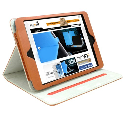 KHOMO ® Brown Book Style Leather Case with Built-in Stand for Apple iPad Mini 7.9 Inch by KHOMO (Image #1)