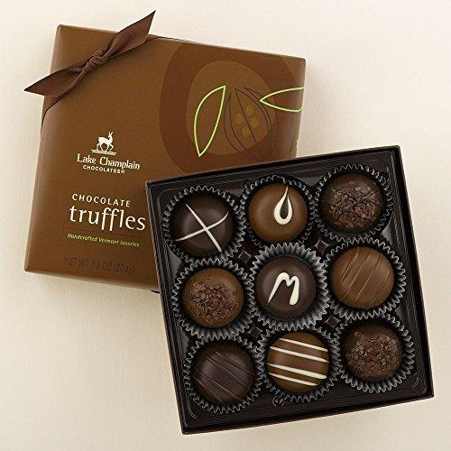 Lake Champlain Milk & Dark Chocolate Truffles, 9 piece Box, 7.2 (Raspberry Chocolate Ganache)
