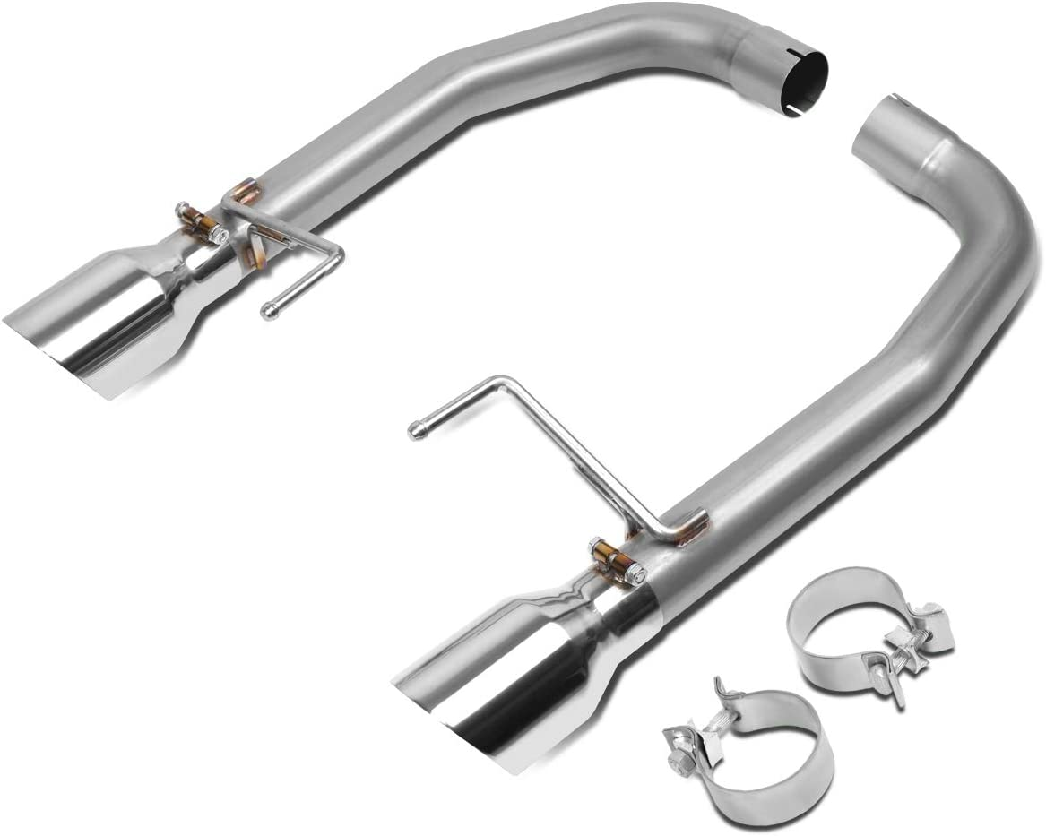 DNA Motoring CBE-MU-FM15-50L 4 Inches OD Exhaust Tip Stainless Steel Axle Cat Back System Kit For 15-17 Mustang 5.0L