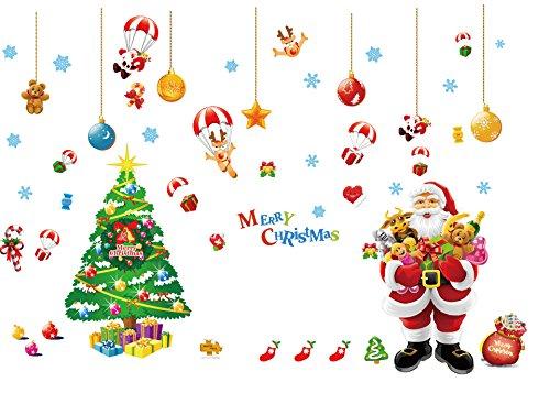 Cheap  Ivenf Extra Large 2'x 3' Double-Sheet Christmas Wall Decal, Xmas Tree Santa..