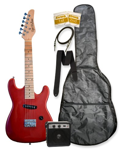 32″ Junior Kids Mini 1/2 Size Electric Starter Guitar and Amplifier Pack with Free Gig Bag and Accessories Red & DirectlyCheap(TM) Translucent Blue Medium Guitar Pick