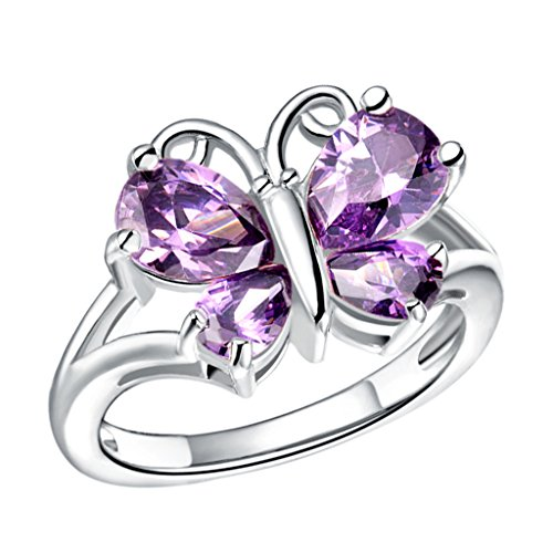 d Plated Jewelry Mosaic Stone Butterfly Zirconia Girls Women Ring (Butterfly Mood Ring)