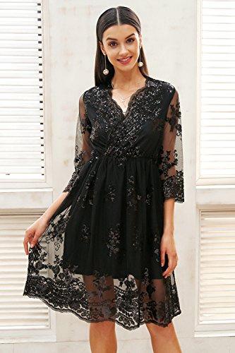 maglia V Vestito lunga scollo da di partito SYT nbsp;Vestito con paillettes in streetwear donna a Dress nbsp; a Black femminilesexy da da nbsp; autunno manica Bw5n87q