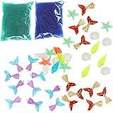 OBANGONG 40 Pcs Resin Mermaid Tails Plastic Shells Starfish with 2 Packs Water Beads Vase Filler