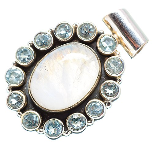 """Rainbow Moonstone, Blue Topaz Pendant 1 1/2"""" (925 Sterling Silver) - Handmade Boho Vintage Jewelry PD651324 from Ana Silver"""