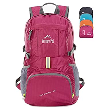 Venture Pal Ultralight Lightweight Packable Foldable Waterproof Travel Camping Hiking Outdoor Sports Backpack Daypack + Lifetime Warranty Fuschia