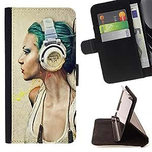 Dragon Case- Mappen-Kasten-Prima caja de la PU billetera de cuero con ranuras para tarjetas, efectivo Compartimiento desmontable y correa para la mu?eca FOR Samsung Galaxy S4 Mini i9190 I9192- Art Colourful Girl