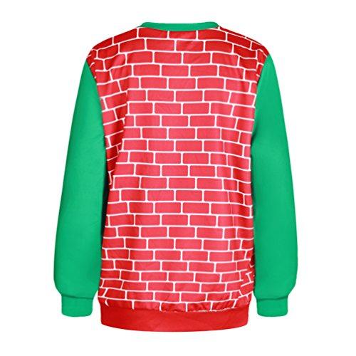 NiSeng Sudadera Navidad Sweatshirt de manga larga Xmas impresión Sweater Pullover Regalos navideña para Mujer Hombre Style 16