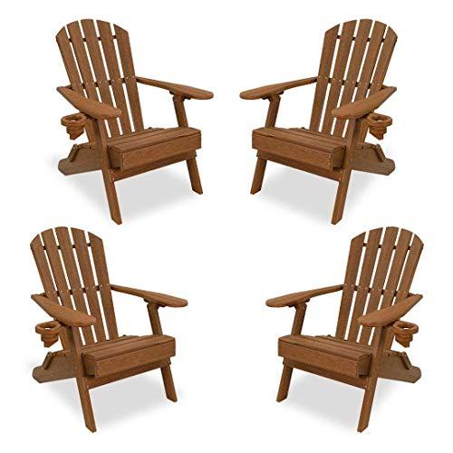 ECCB Outdoor Outer Banks 4-Piece Value Line Adirondack Chair Set (Antique Mahogany) ()