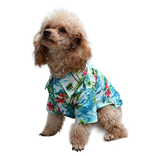 EXPAWLORER Hawaiian Pet Dog Polo T Shirts Cute for Small to Medium Puppy Cats Cool Summer Custom ()