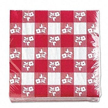 Creative Converting Paper Napkins, Two-ply, 12 7/8 in X 12 3/4 In, Red Gingham, 100 Per Carton (21188) - 2 Pack ()