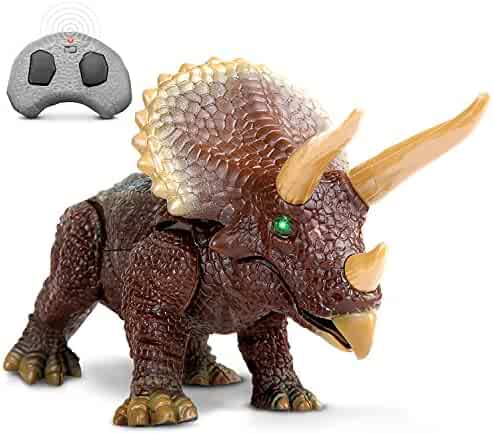 Discovery Kids RC Triceratops, LED Infrared Remote Control, Built-In Speakers W/Digital Sound Effects, Figure Stands 10 Inches Long, Includes Glowing Eyes, Life-Like Motion, A Great Toy For Girls/Boy