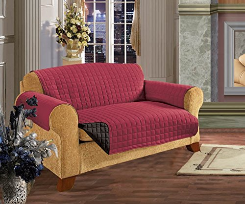 Childs Loveseat (Elegant Comfort QUILTED FURNITURE PROTECTOR for Pet Dog Children Kids -2 TIES TO STOP SLIPPING OFF Treatment Microfiber As soft as Egyptian Cotton Burgundy/Black Love Seat)
