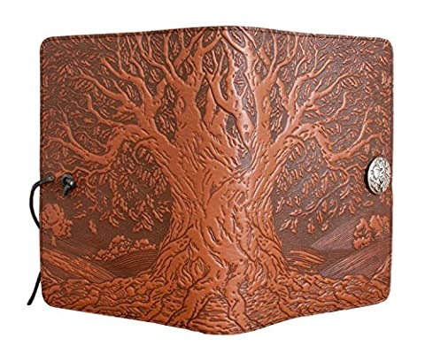 Genuine Leather Refillable Large Notebook Cover for 5.25 x 8.25 Inch Notebooks | Tooled Tree of Life, Saddle with Pewter Button | Made in the USA by Oberon - Oberon Journal