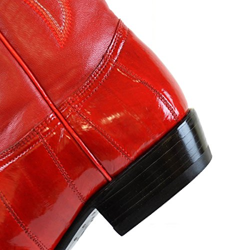 Hombres Los Altos Genuine Eel Skin J Toe Hecho A Mano Trending Western Urban Bota Rojo