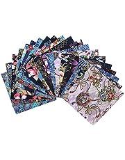 "Misscrafts 20PCS Japanese Flower Butterfly Phoenix Fabric 6""x6""/15x15cm Pre-Cut Bronzing Fabric for DIY Sewing Decor"