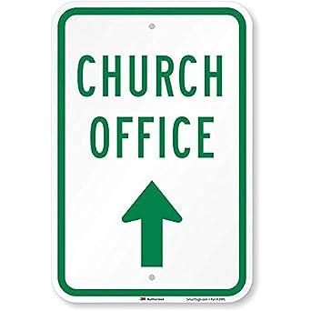 Señal de oficina de iglesia (con flecha arriba), cartel de ...