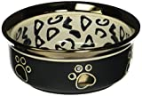 Ethical Stoneware Dish 6202 Ritz Copper Rim Dog Dish Leopard, 5 Inch