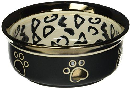 (Ethical Stoneware Dish 6202 Ritz Copper Rim Dog Dish Leopard, 5 Inch)