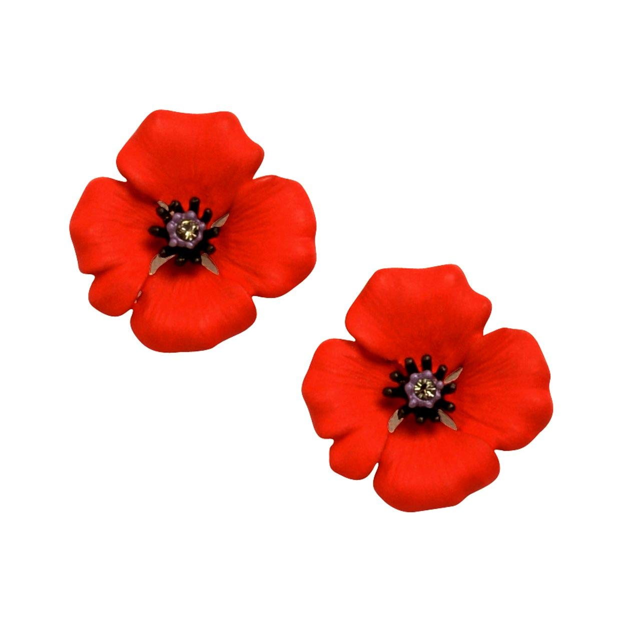 The 4 Petal Poppy Collection, Enamel Rhodium Plated Small Clip