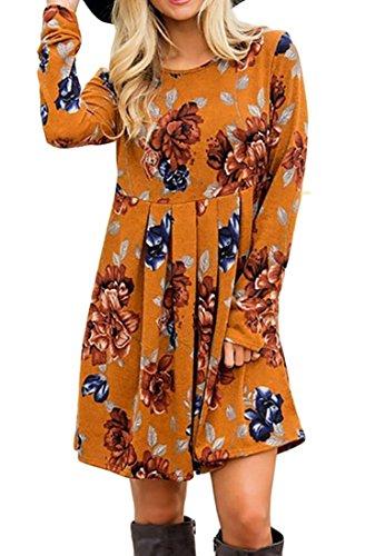 Domple Femmes Évasées Partie Manches Longues Floral Mini Robe Plissée Décontractée D'orange