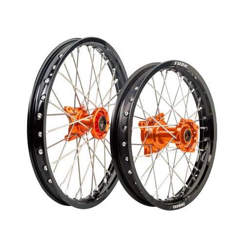 KTM 85 SX Husqvarna TC 85 Tusk IMPACT Complete Front/Rear Wheel Kit 19''/16'' Black Rim/Silver Spoke/Orange Hub