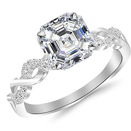 1 Carat Platinum Twisting Infinity Gold and Diamond Split Shank Pave Set Asscher Cut Diamond Engagement Ring (0.9 Ct E Color SI1 Clarity Center Stone)