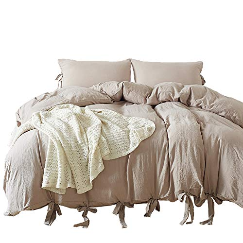 Omelas 3pcs Taupe Washed Cotton Duvet Cover Set Queen Full Size Modern Solid Color Duvet Cover Soft Microfiber Natural Wrinkle Bedding Set with Bowknot Tie Design (Khaki/Taupe, Queen 90x90)