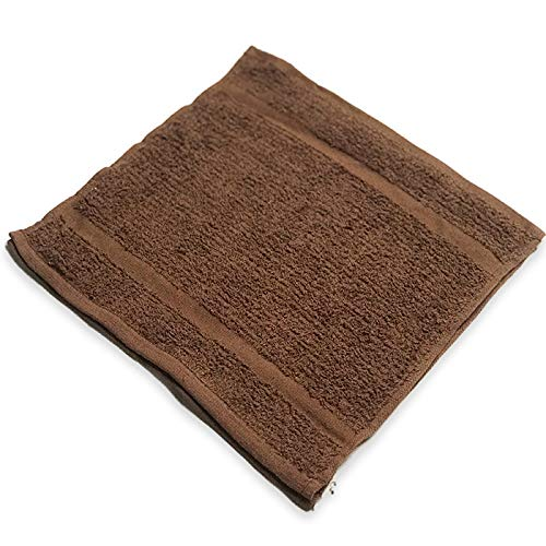 IZO All Supply 12 Pack Brown 12x12 Cotton Fingertip-Hand-Face Towels- 100% Extra Soft Ring Spun Washcloths, Highly Absorbent Cleaning Cloth