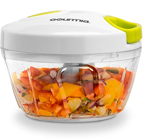 Gourmia GMS9280 Mini Slicer Pull String Manual Food Processor With Bowl & Removable Blade, Durable BPA free food safe material
