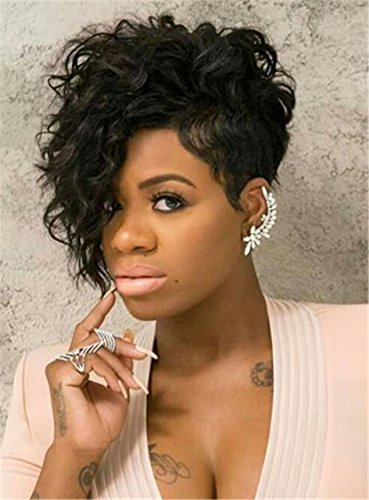 Colorwigy Hot Pixie One Side Part Short Messy Kinky Curly Synthetic Hair With Bangs Capless Cap Wigs 8 Inches by Colorwigy