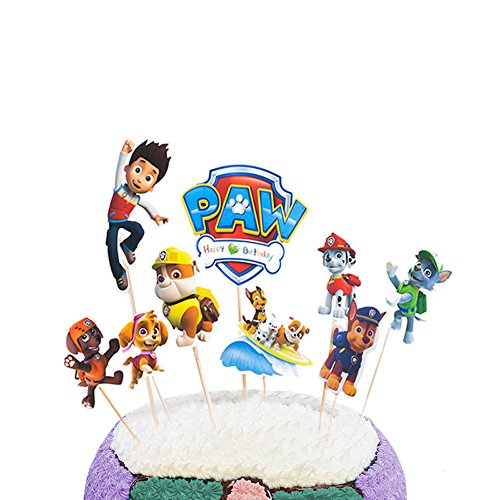 Party Hive 9pc Paw Dog Patrol Cake Toppers for Kids Birthday Party Event Decor (Paw Patrol Cake Topper Round)