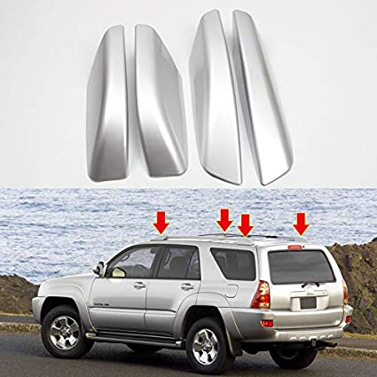 Exterior Roof Rack Rail End Cover Shell Cap Replacement 4PCS Silver ITrims for Toyota 4Runner 4WD N210 2003-2009