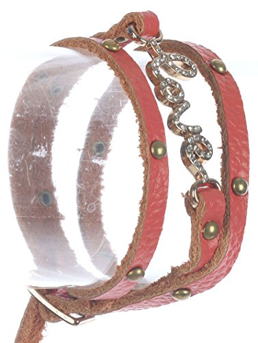 - FB Jewels Solid Metal Letters Faux Leather Wraparound Message Love Pave Crystal Stone Metallic Stud Belt Buckle Closure 20 in Long .5 in Tall Bracelet