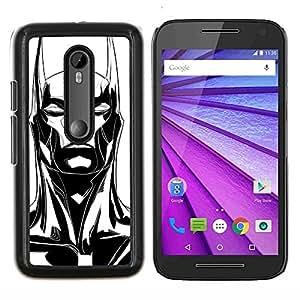 Orejas largas Bat Negro blanco del arte- Metal de aluminio y de plástico duro Caja del teléfono - Negro - Motorola Moto G (3rd gen) / G3