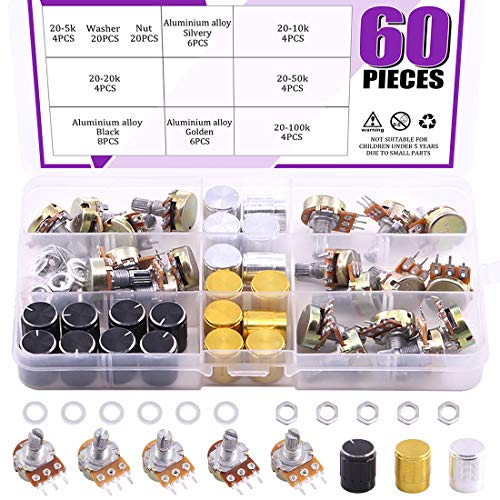 Swpeet 60PCS B5K 10K 20K 50K 100K Ohm Knurled Shaft Linear Rotary Taper Potentiometer with 20Pcs 3 Different Kinds Aluminum alloy Knob(WH148) and 40Pcs Washers and Nuts Kit for Tinkering