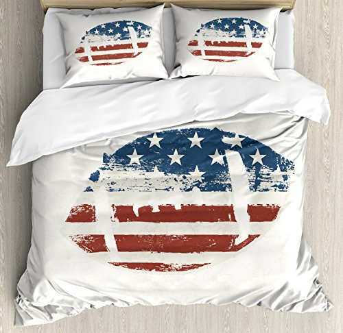 Ambesonne Sports Duvet Cover Set, Grunge American Flag Themed Stitched Rugby Ball in Vintage Design Football Game Theme, A Decorative 3 Piece Bedding Set with Pillow Shams, Queen/Full, Cream Blue Red ()